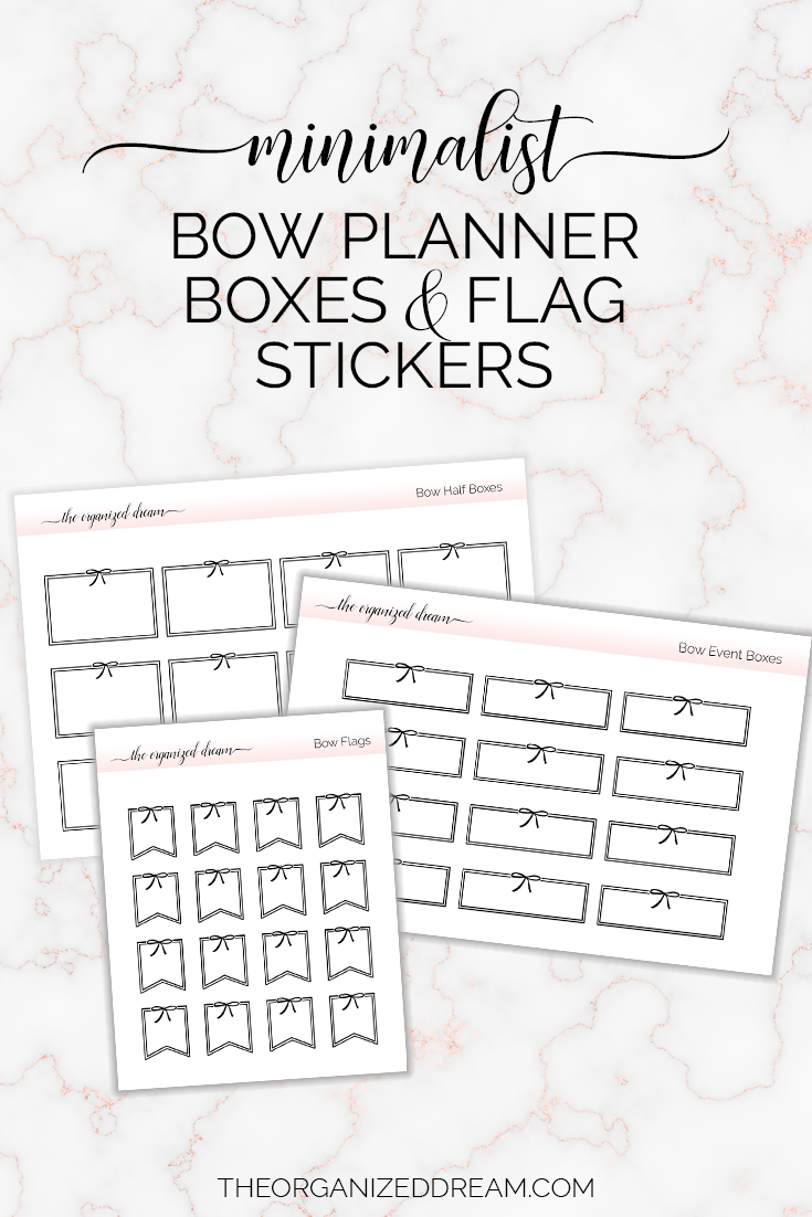 Minimalist bow planner boxes and flag stickers.  #plannergirl #planner #stickers #etsy
