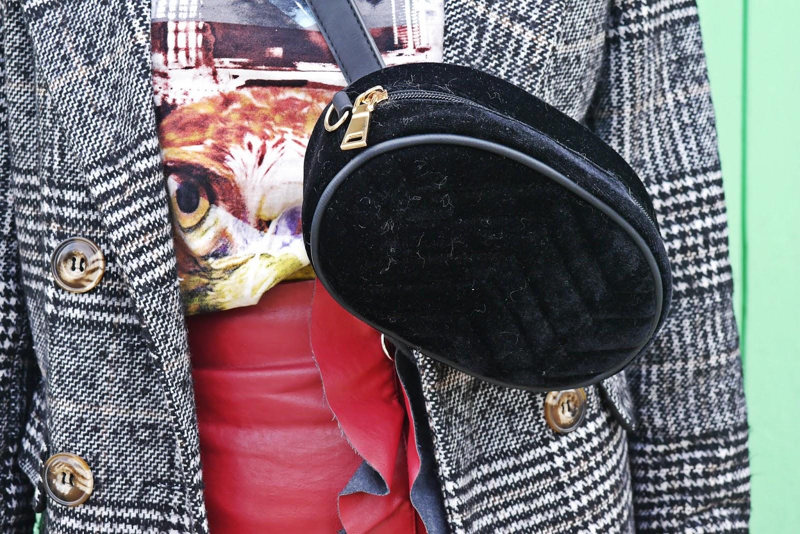 szare botki renee spódnica skórzana brdowa marynarka w kratę karyn blog modowy blogerka modowa