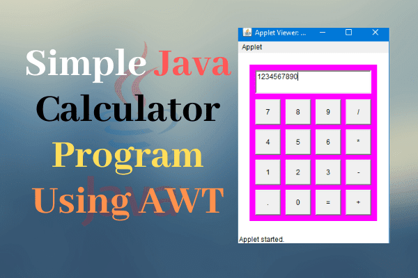 Java Calculator Program Using AWT