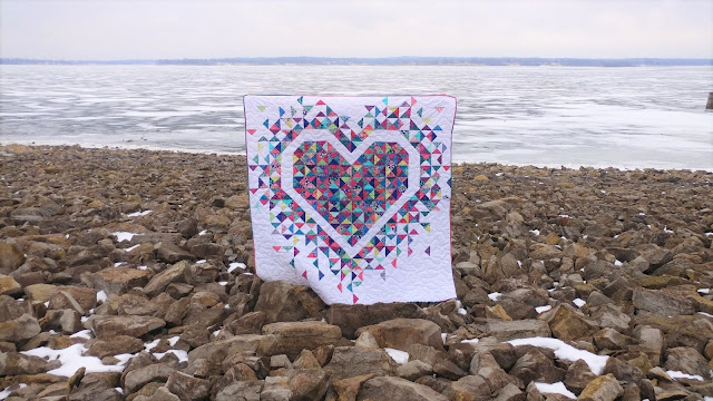 Exploding Heart quilt with Kate Spain's Confection Batiks from Moda