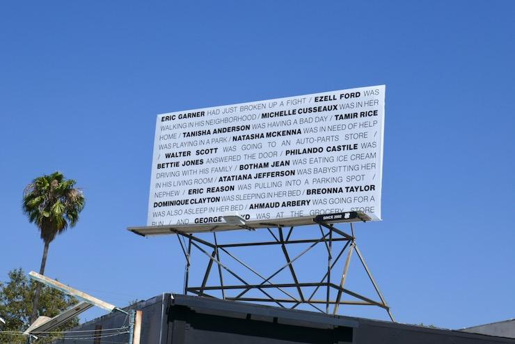 Black lives deaths names billboard