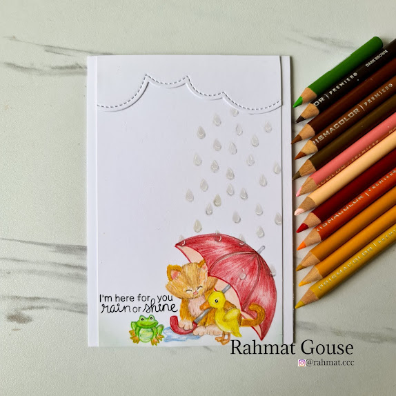 I'm here for you through rain and shine by Rahmat showcases Newton's Rainy Day and Raindrops by Newton's Nook Designs; #newtonsnook, #inkypaws, #friendshipcard, #cardmaking, #catcard