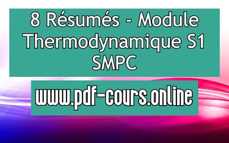 8 Résumés - Module Thermodynamique S1 SMPC
