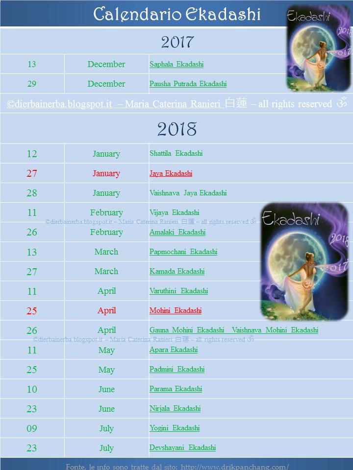 Calendario Lunare Dicembre 2017.Calendario Ekadashi Il Digiuno Ad Ogni Luna 月 Di Erba