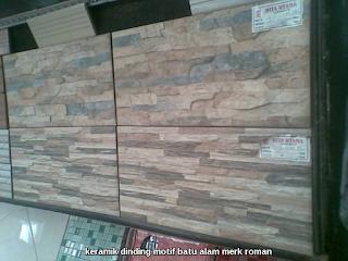 keramik dinding motif batu alam merk roman