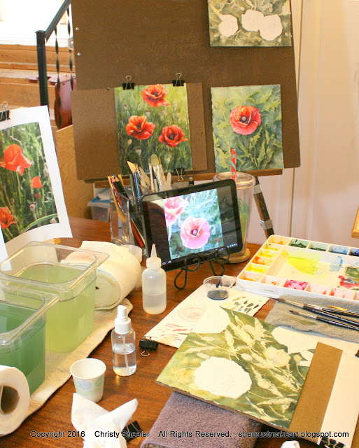 watercolor poppies paintings series in progress, Christy Sheeler Artist studio 2016