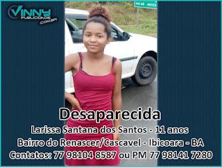 Família pede ajuda para encontrar Larissa de 11 anos desaparecida em Ibicoara