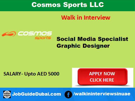 Job in Dubai for Graphic Designer and Social Media Specialist in Karama