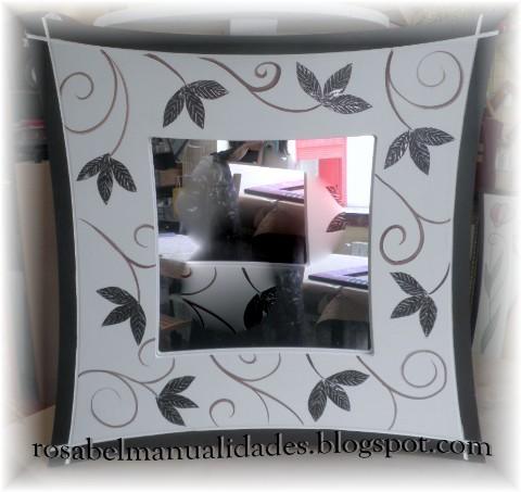 Rosabel manualidades espejos decorados for Espejos con marcos decorados