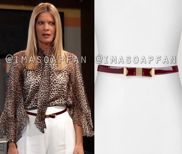 Nina Reeves, Michelle Stafford, Dark Red Patent Leather Bow Belt, Ted Baker, General Hospital, GH