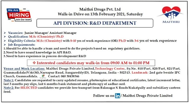 Maithri Drugs | Walk-in interview for R&D on 13th Feb 2021 at Hyderabad