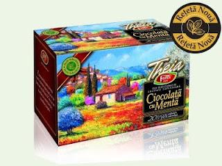 poza cutia si ambalajul ceaiului cu ciocolata si menta Theia Fares