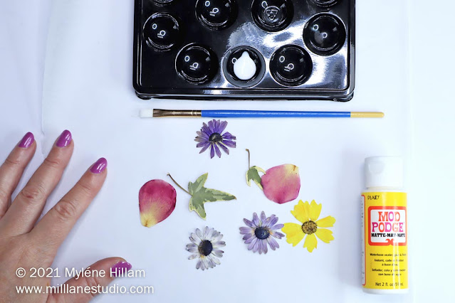 Rose petal, daisies, Mod Podge, paint brush and paint palette in a flat lay