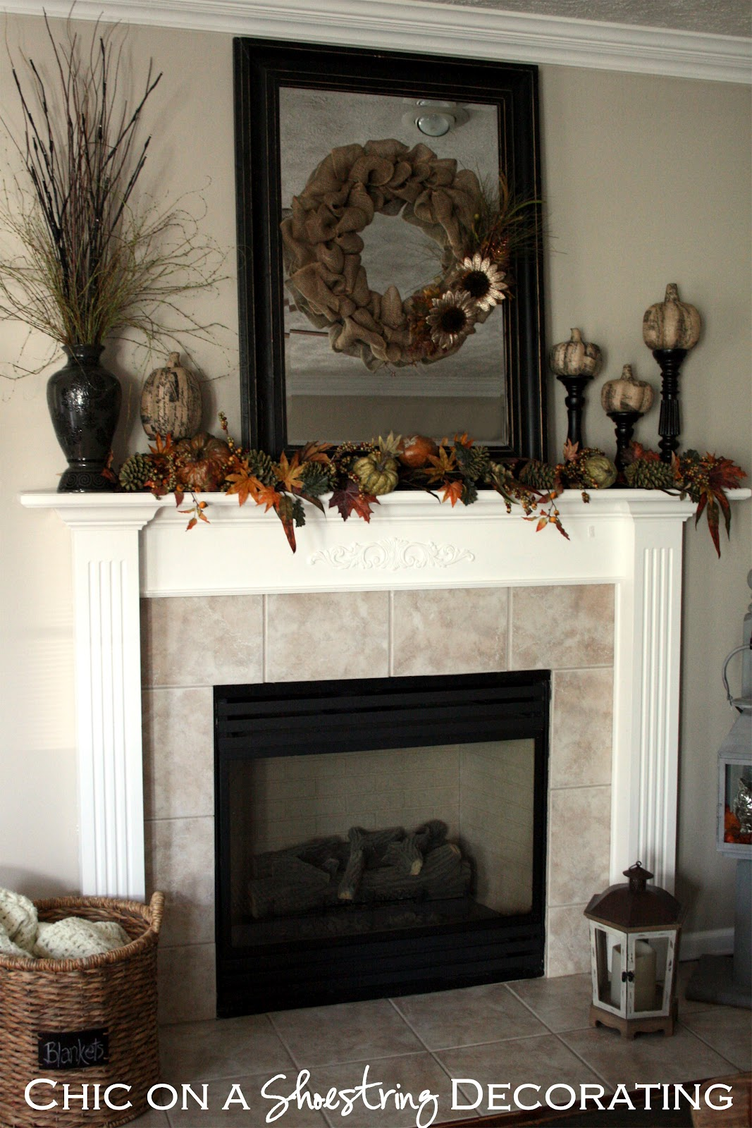 Chic on a Shoestring Decorating Burlap Fall Mantle