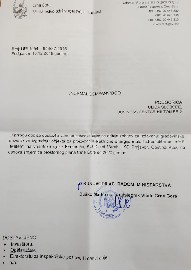 SAZNAJEMO: Odbijen ponovni zahtjev za izdavanje dozvole za gradnju male hidroelektrane na Komarači