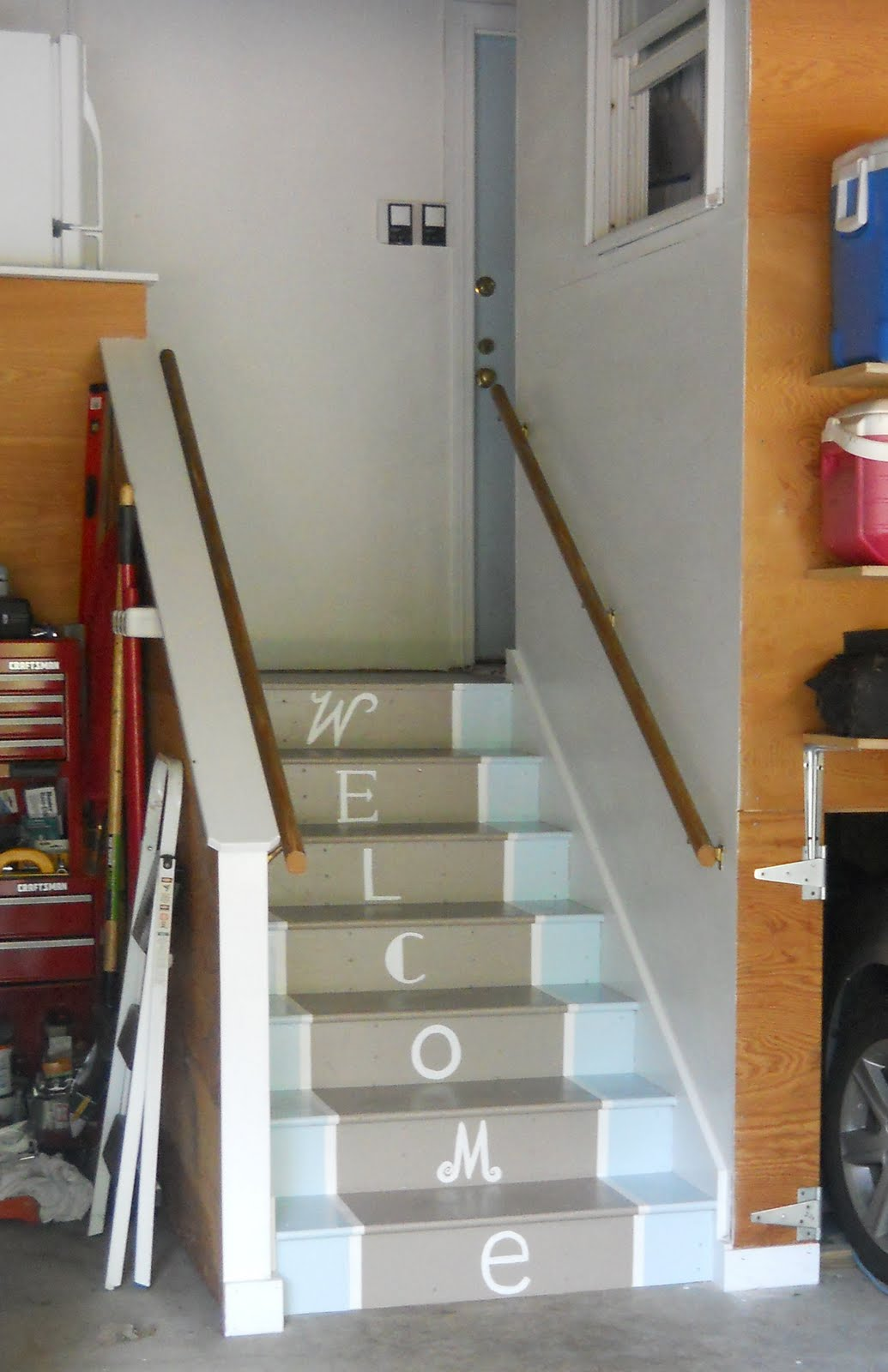 Lighting Basement Washroom Stairs: Painted Garage Stairs