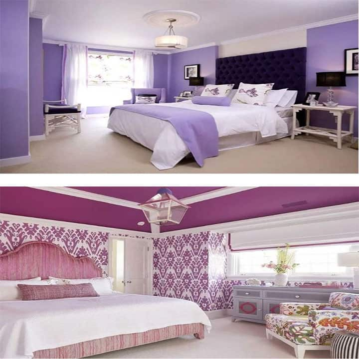 غرفة نوم باللون ليلك مع أبيض