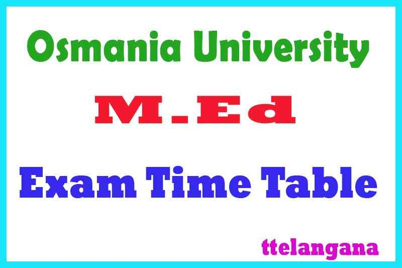 Osmania University OU M.Ed Exam Time Table