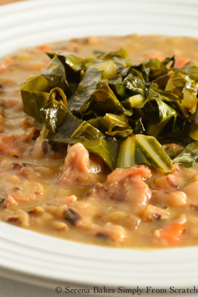 Ham Black-Eyed Pea Soup with Collard Greens said to bring good luck in the New Year!