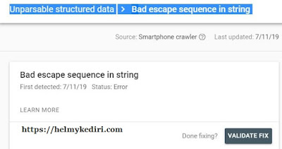Bad escape sequence in string