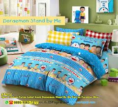 Sprei Custom Katun Lokal Anak Doraemon Stand By Me Kartun Karakter Biru
