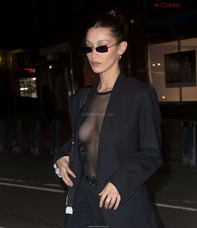 Bella Hadid  exposed in transparent  T shirt  kess  CEleBrity.co Exclusive 01