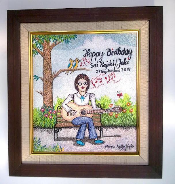 Lukisan Bordir HBD Gift untuk Jeki