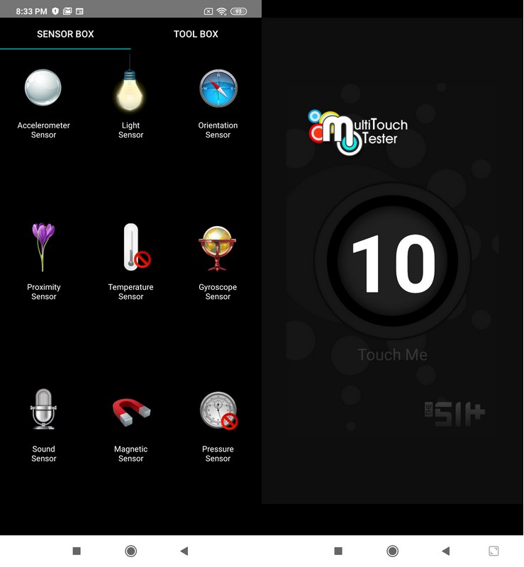 Sensorbox for Android & Multitouch Tester Xiaomi Mi Note 10 Pro