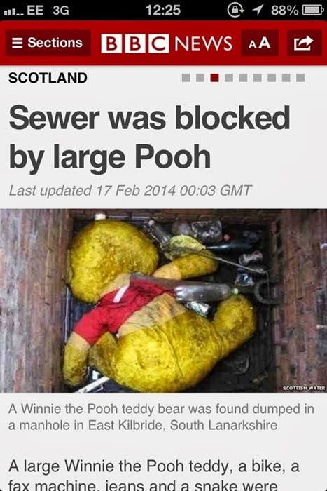 sewer was blocked by large winnie the pooh bike fax machine jeans snake