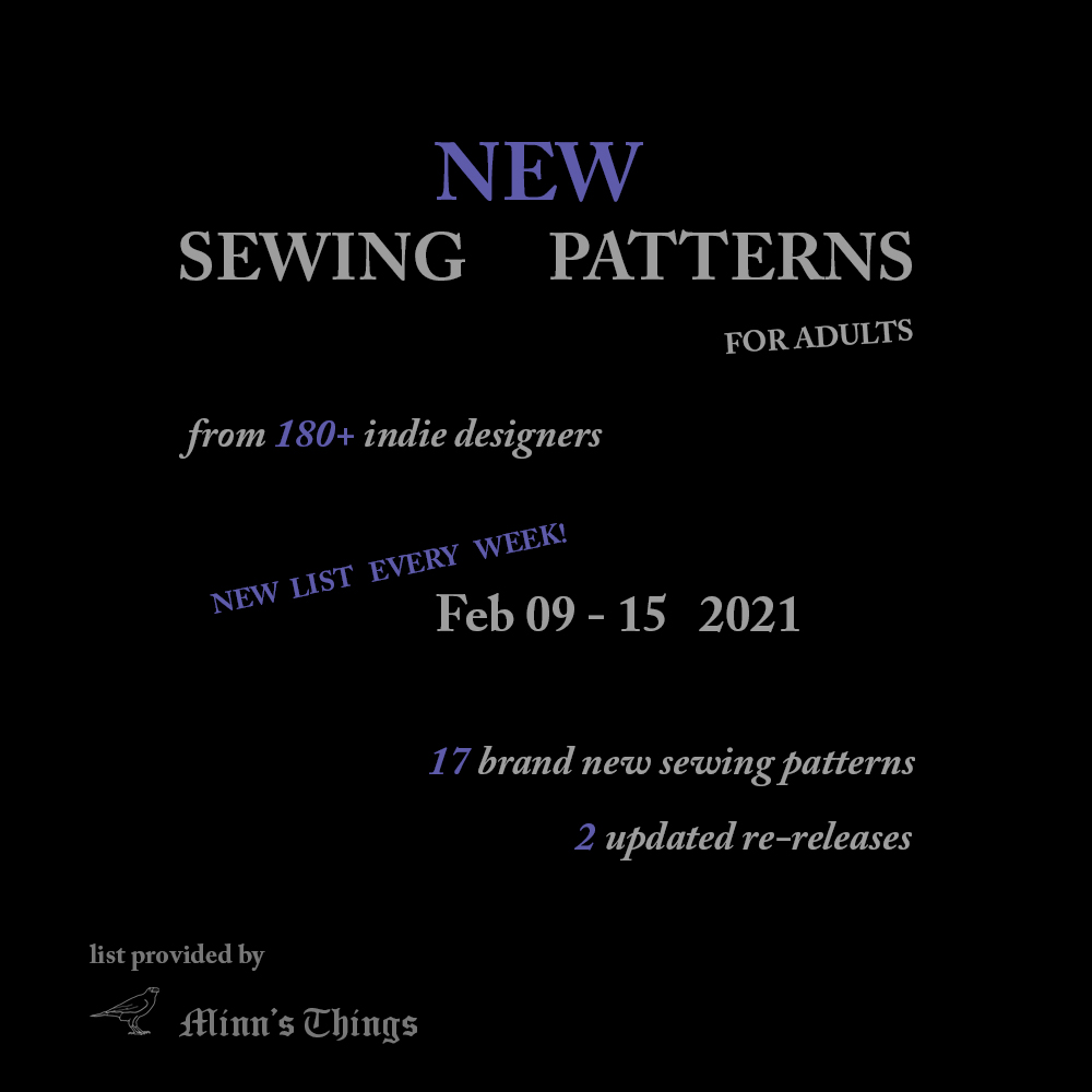 New Sewing Patterns for adults, small indie designers, february 2021
