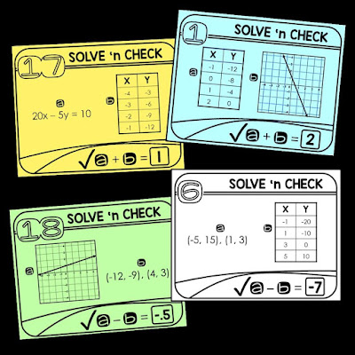 Solve 'n check math tasks are self-checking and perfect station activities