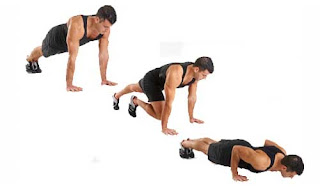 Knee to chest push up(Lutut ke dada)