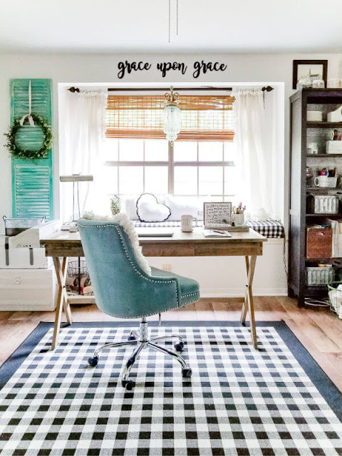 DIY Beautify office and craft room with blue velvet office chair and campaign desk
