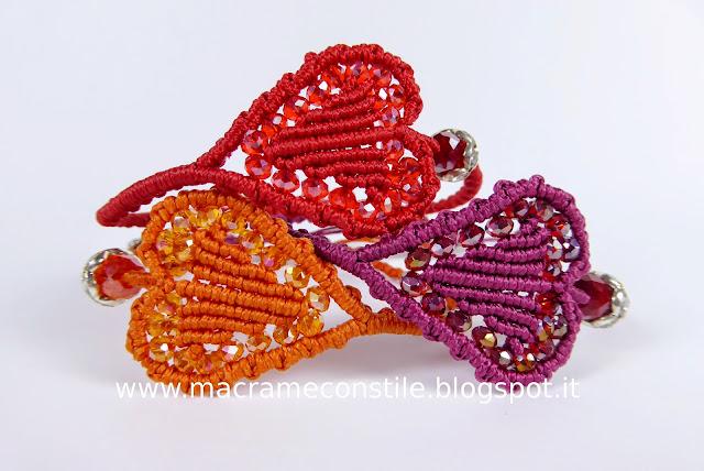 MACRAME bracciali cuori colorati