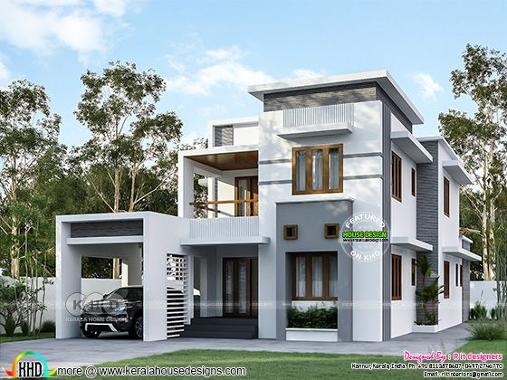 Flat roof style modern contemporary house rendering