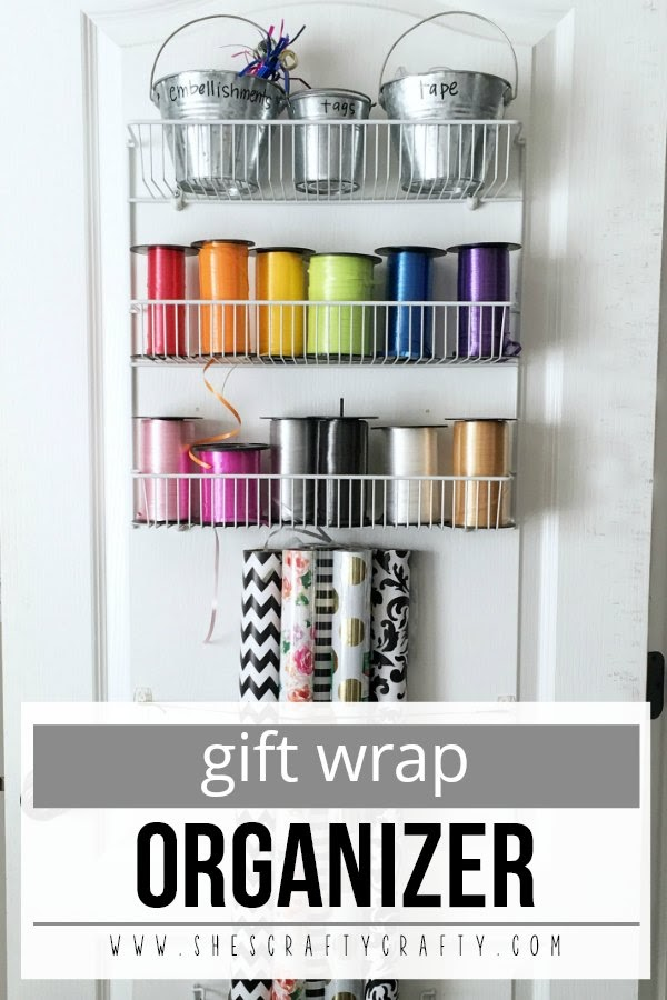 Gift Wrap Organizer - store wrapping paper and ribbon in unused space behind the door