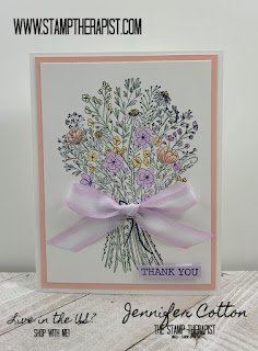 This thank you card uses Stampin' Up!'s Hand-Drawn Blooms Stamp Set.  Also used are various Stampin' Blends and Playing with Patterns Ribbon Combo.  Click to go to the blog for supplies & video or to purchase!  #StampTherapist #StampinUp