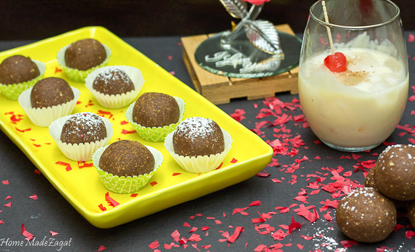 Spiced Rum Balls: A sweet dense chocolate ball made from wafers, walnuts and infused with a dark spiced rum. Perfect for parties and special occasions. #HomeMadeZagat