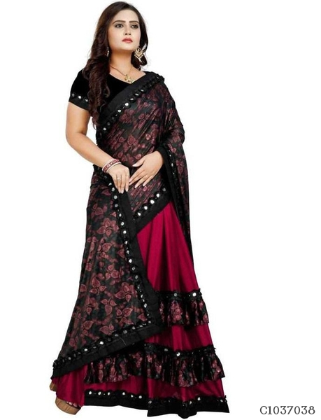 Adorable Blend Silk Printed Regular Sarees