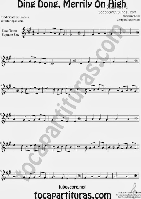Ding Dong, Merrily On High Sheet Music for Soprano Sax and Tenor Saxophone Music Scores