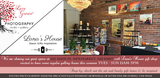 102 Main Street Newmarket, NH Love Grows Photography Gallery and Lana's House open Tuesday - Sunday 11AM - 5PM this summer