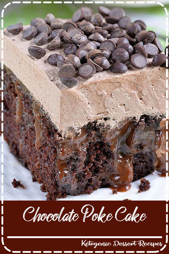 Chocolate Poke Cake is quadruple chocolate treat-rich chocolate cake infused with delicious mixture of melted chocolate and sweetened condensed milk, topped with chocolate whipped cream and chocolate chips.