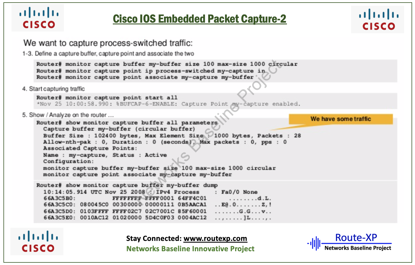 How to gather packet captures in pcap format on a router