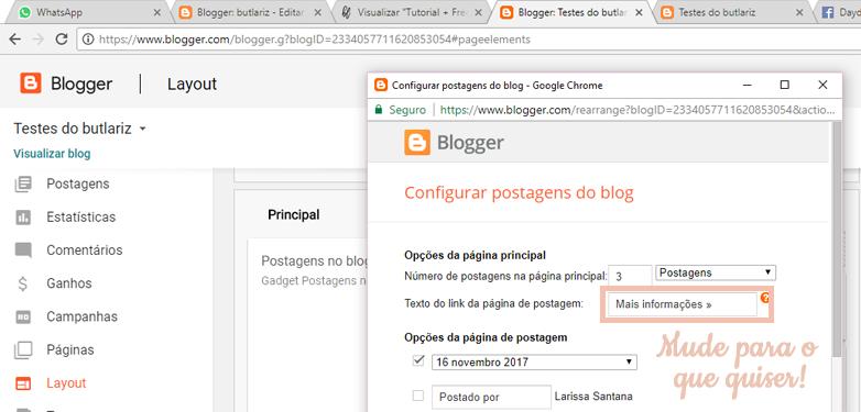 mudar o texto do leia mais no blogger