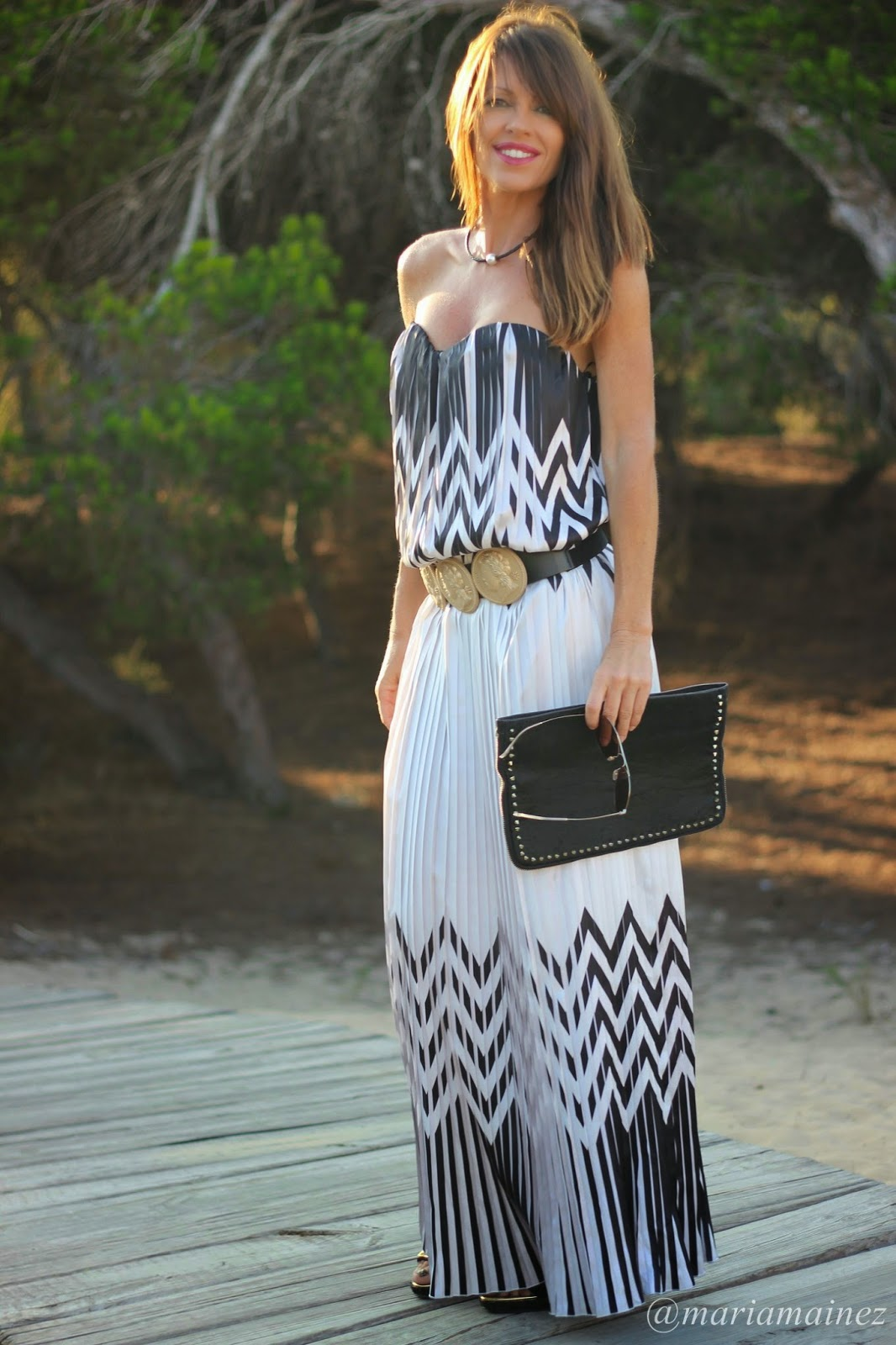 Sahoco Dress - Black and White - vestidos largos - gafas gucci
