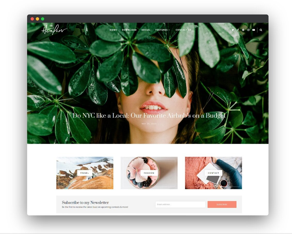 Heather Personal Responsive Blogger Template 2020