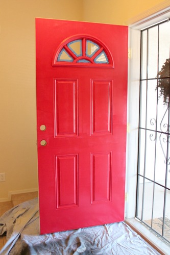 Three Coats Later The Door Was Bright Red Perfection Although This Picture Looks Almost Exactly Same As First
