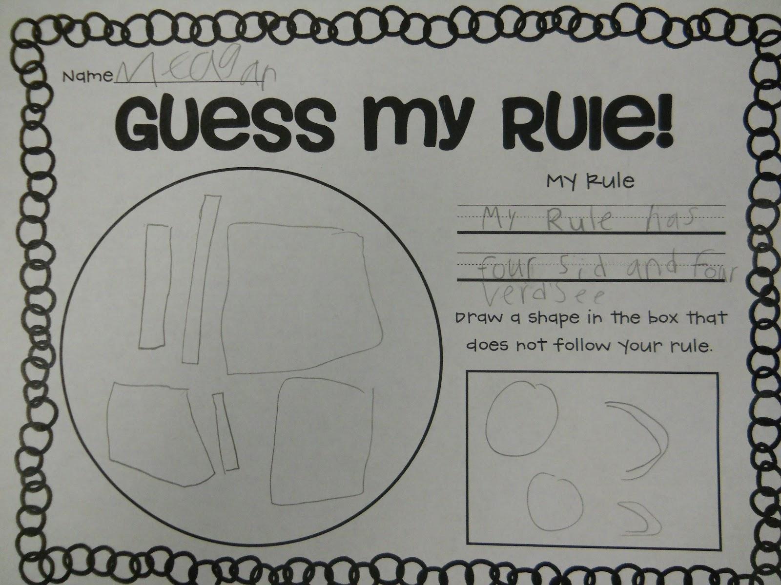 Mrs T S First Grade Class Guess My Rule