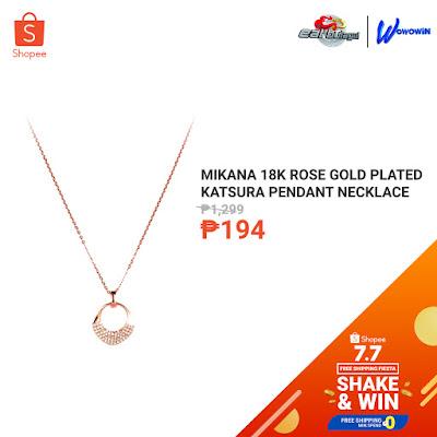 Mikana 18k Rose Gold Plated Katsura Pendant Necklace