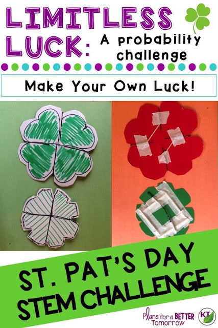St. Patrick's Day STEM Challenge: In Limitless Luck, students create four-leaf frisbee designed to always land face-up for probability! Comes with modifications for grades 2-8.